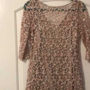 Kay Unger Lace Dress pale pink with silver details